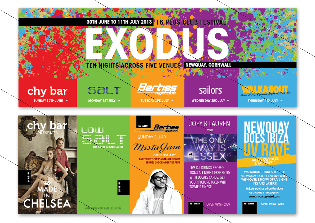 Exodus Club Festival Flyers - made with my 2hands
